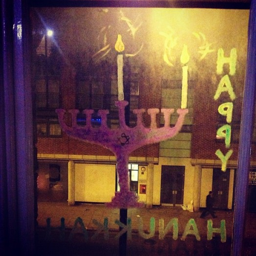 A painted chanukkiah on my window
